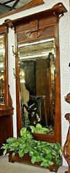 Antique Country French Walnut Art Nouveau Hall Tree Circa 1890 Flower Base