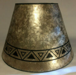 New Parchment Color Empire Shaped Mica Lamp Shade W/ Geometric Design Print 709n