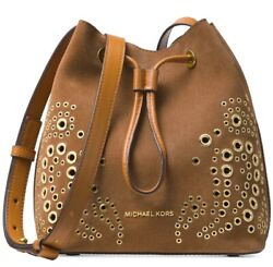 New Michael Kors Cary Embellished Suede Bucket Crossbody caramel suede gold stud $152.99