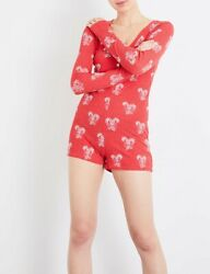 NWT Wildfox Sweet Treat Woven Christmas Romper Red Candy Cane - Size L $50.00