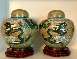 Pair Big 10+ Old Republic Chinese Dragons Cloisonne Ginger Jars Lids Stands