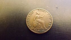 X Rare Uk 1860/50 Overdate Farthing Current Value In Fine 6000 If Available