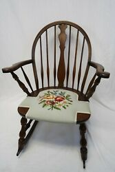 Antique Bentwood Rocking Chair   Windsor Style, Floral Needlework, Beautiful