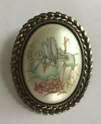 Vintage Antiqued Brass Tone Domed Painted Floral Iris Flower Brooch Pin