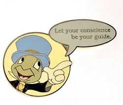 Le 100 Disney Auction Pin✿film Quote Jiminy Cricket Let Your Conscience Be Guide