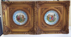 Antique Angelica Kauffman Exquisite Painted Limoges Ornate Gilt Framed Plates
