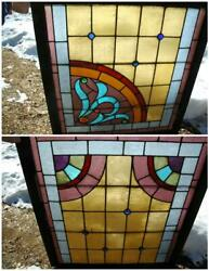 Antique Vintage Victorian Stained Glass Windows W/ Jewels 31.5x33