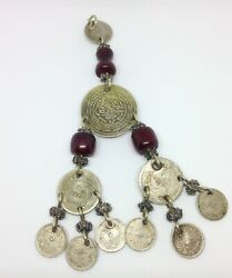 Antique Ottoman Coin Beads Jewelry Chain Natural Pendant Silver And Old Amber