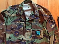 Usaf Bdu Woodland Camo Coat/pants Med-reg Sewn Harding Col Rank Patches Devices