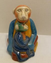 The Fenix Raku Pottery Sitting Baboon And Baby Figurine Hand Made In South Africa