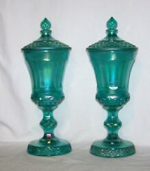 Irridescent Teal Green Carnival Glass Quilted Panel Pedistal Compotes Finial Lid