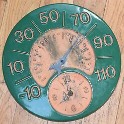 Vintage Style Ceramic Wall Clock Thermometer Green W/ Red Unglazed Pottery 14w