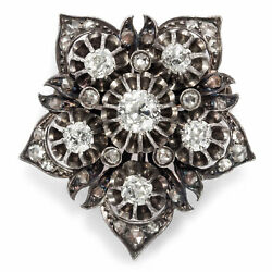 Antique Brooch In 580er Red Gold U.silver With Over 1,18 Ct Diamonds, Um 1890