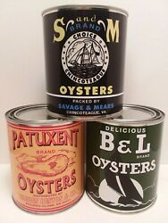 Vintage Oyster Cans - Bandl - Patuxent - S And M Brand Set Of 3 - 1 Qt. Cans