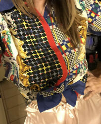 Vtg 90s Versace Jeans Couture Italy Novelty Dog People Print Blouse Shirt Top