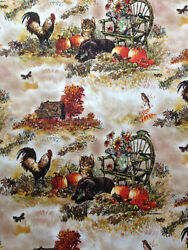 Fall Pumpkins Roosters House Dog Bird Cat Colors BTY or 18quot; cut Sew Fabric ..