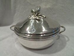 Gorgeous 20th C French Sterling Silver Covered Vegetable Dish Almonds Finial