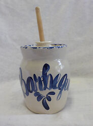 Shakers And Thangs Vintage Barbeque Pottery Crock Creme And Blue 12 Brush 7 X 5.5