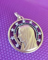 18k Gold Vintage Virgin Mary Pendant With Diamonds And Sapphire Halo By A.augis.