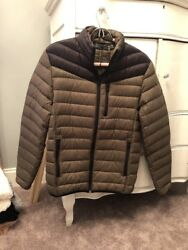 New Mens Inc Down Packable Puffer Colorblock Green Black Jacket S 195
