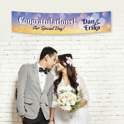 Personalised Love Hearts Mr Mrs Congratulations Wedding Party Banner Decoration