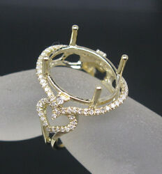 Oval 13andtimes16mm Solid 14k Yellow Gold Natural Diamond Semi Mount Engagement Ring