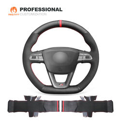 Suede Leather Steering Wheel Cover For Seat Leon Ibiza Fr|cupra Arona