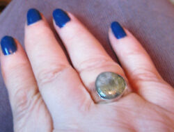 Navajo Gold In Quartz Ring Hand-made Stamped 9.25 1800's To Very Early 1900's