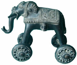 Brass Elephant Animal Kid Toy Statue With Moving Wheels Collectible Art Figurine