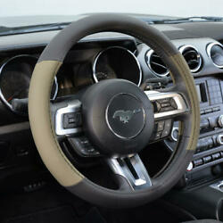 Beige Two Tone Perforated Pu Leather Steering Wheel Cover For Car Van Suv Truck