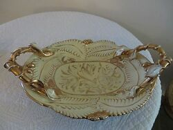 Majolica Mica Italy Large Yellow Gilded Gold Tray Platter Bowl Art Pottery