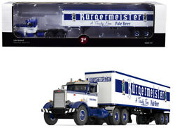 Peterbilt 351 Day Cab With 40' Vintage Trailer Burgermeister Blue And White 25