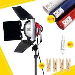 GS 800W Video Continuous Red Head Light Kit 3 Gels Filter 4 Wooden Clip +Bulb