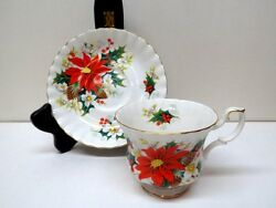 Royal Albert Yuletide Pattern Ribbed Christmas Cup And Saucer