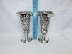 Jennings Brothers Silverplate Repousse Trumpet Vases 7