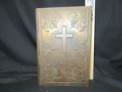 Antique Brass Masonic Cover Holy Bible Thomas Nelson And Sons Old And New Testaments