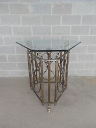 Maison Jansen Style Rams Head Brass And Steel Entry Center Table 38.5h X 35.5w