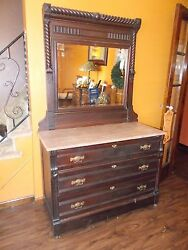 Victorian Eastlake Dresser With Marble Top And Mirror 1800's Era Rare