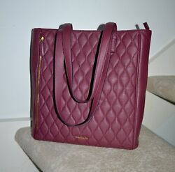 Nwt 298 Vera Bradley Quilted Leather 'leah' Tote Claret Red Handbag Bag
