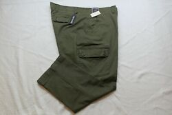 Roundtree And Yorke Washed Utility Cargo Pants Mens Olive Color Size 44x29 Nwt