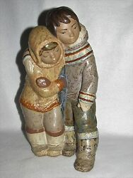 Couple From The Arctic Lladro Gres Eskimo 2038 - Third Mark - Mint