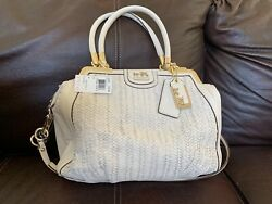 New Coach Madison Pinnacle Woven Lily In Parchment White Retails 1200
