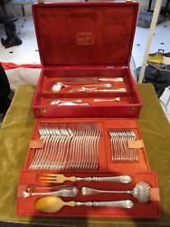 Magnificent 1900 French Sterling Silver Boxed 48p Cutlery Set Lxvi St Crest