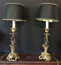 Stunning Cupid Lamps Pair, Antique Brass And Bronze, Circa 19th C