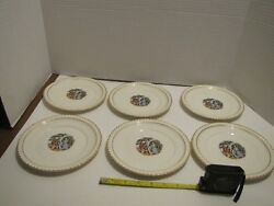 Set Of 6 Harker Pottery Usa George And Martha 22kt Gold Rim 7 1/4 Plates Crazing
