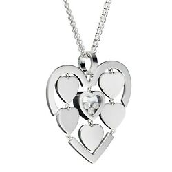 Chopard Amore Hearts White Gold And Diamond Pendant Necklace 79/7220 Brand New