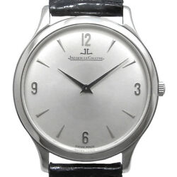 Auth JAEGER LECOULTRE Master Control Ultra Slim 145.8.79 Hand-winding SS Leather