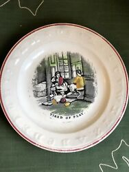 Antique 19th C Childs Abc Plate Andldquotired Of Playandrdquo Staffordshire Childrenandrsquos Dish