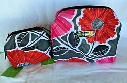 Vera Bradley PUFFY COSMETIC CASES- LG + SM MAKEUP BAGS +CELL CASE +PEN  Save $54