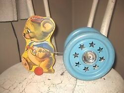 Antique Jingling 1940 Floor Pull Toy Wood Mouse Gong Bell Toy Co